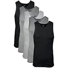 Solids: 100 percent cotton; Sport grey: 90 percent cotton, 10 percent polyester Colors may vary Moisture wicking - Keeps you cool and dry Feels soft to the touch; Tag free; Double needle hem White: 6 pack = SM XL; 5 pack = 2X / Assorted: 5 pack = SM ...