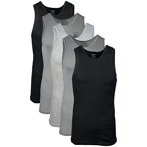 Gildan Men's A-Shirts 5 Pack, Grey/Black, Large