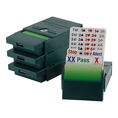 Bridge Partner Bidding Boxes- 100% Plastic cards - 4 Stück - Dunkelgrün