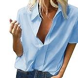 Xmiral Donna Camicetta Blusa Elegante Camicia Manica Corte Scollo Camicetta Camicia Bavero Elegante Bluse XXXL Azzurro