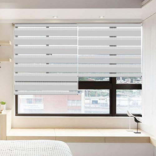 LUCKUP Horizontal Window Shade Blind Zebra Dual Roller Blinds Day and Night Blinds Curtains,Easy to Install 31.5' x 90' Grey