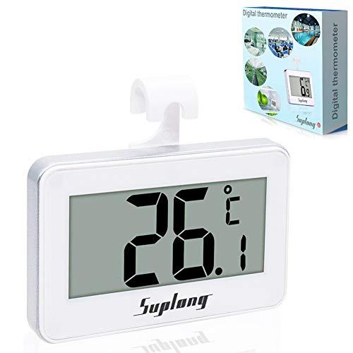 Kühlschrank-Thermometer, SUPLONG Digitale Wasserdichte Kühlschrank Mit Gefrierfach Thermometer Mit Gut Lesbarem LCD-Anzeige Lesen Perfekt für Lnnen/Außen/Home/Restaurants/Bars/Cafés (Weiß))