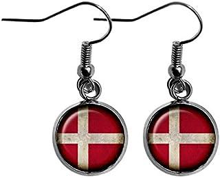 Denmark Danish Flag Surgical Steel Earrings