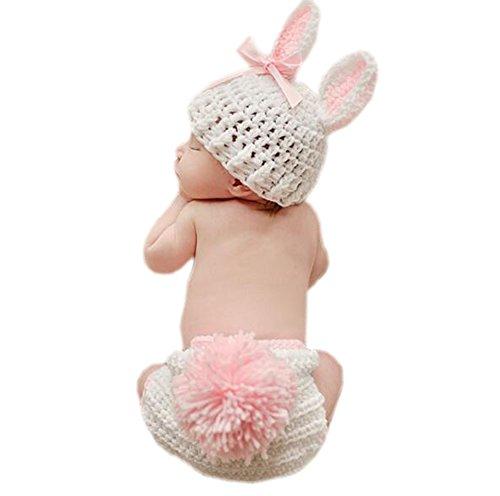 DELEY Bebé Recién Nacido Crochet Tejer Dibujos Animados Conejo de Conejito Bebé de la Fotografía Props Traje de Trajes de 0-6 Meses