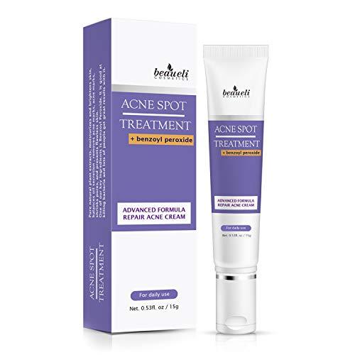 Beaueli Acne Spot Treatment Cream Benzoyl Peroxide for Face Acne Prone Skin, Facial Anti Acne Scar Removal Cream