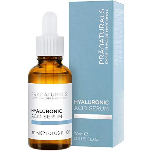 Sérum visage à l acide hyaluronique PraNaturals 30ml - Soin pour la peau antivieillissement, élimine les ridules, enrichi en huiles naturelles et vitamines