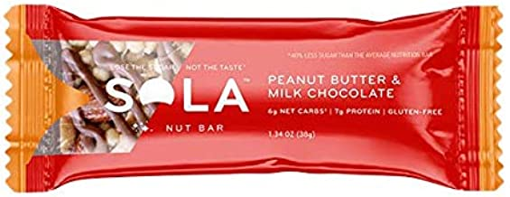 SOLA Peanut Butter and Milk Chocolate Snack Bar, 38g (Pack of 12)