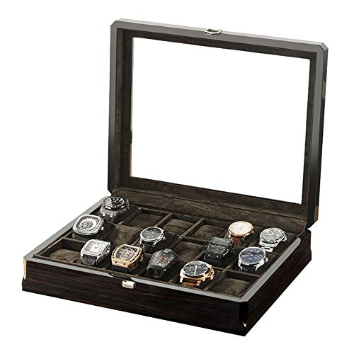 Caja de Reloj de Madera Maciza con 18 Ranuras para Hombres y Mujeres, Organizador de Vitrina de Reloj Grande con Parte Superior de Ventana de Vidrio Real, Forro de Terciopelo, Negro