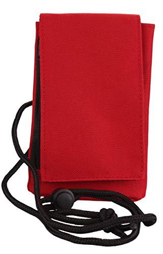 Handytasche Umhängetasche mit Klettverschluss und Reißverschluss Reisegeldbeutel Brustbeutel in classicred