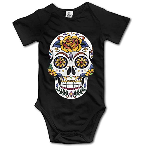 Axige888 - Body para bebé (Manga Corta), diseño de Calavera Negro Negro (12 Meses