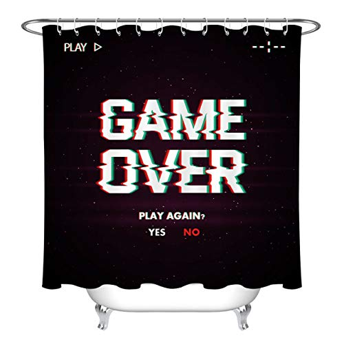123456789 Game over het scherm stof douchegordijn set 108 cm wooncultuur badkameraccessoires
