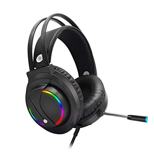 DEALPEAK 3.5mm Gaming Headset with Noise Cancelling Microphone and LED Light, Wired Headphone for Laptop Desktop Computer