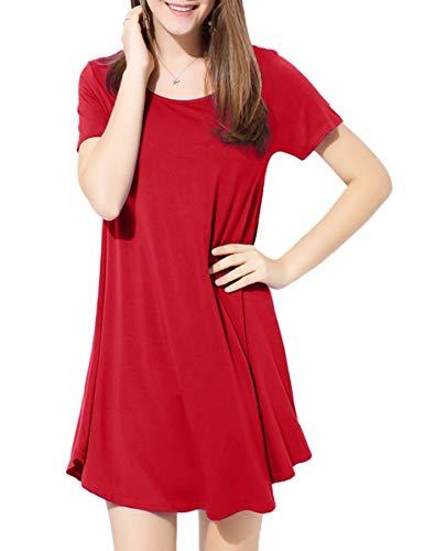 BELAROI Kleider Damen Sommerkleid Blusenkleid A Linie Kleid Casual Freizeitkleid Kurzarm Tunikakleid Lose Fit Strandkleid,Rot,M