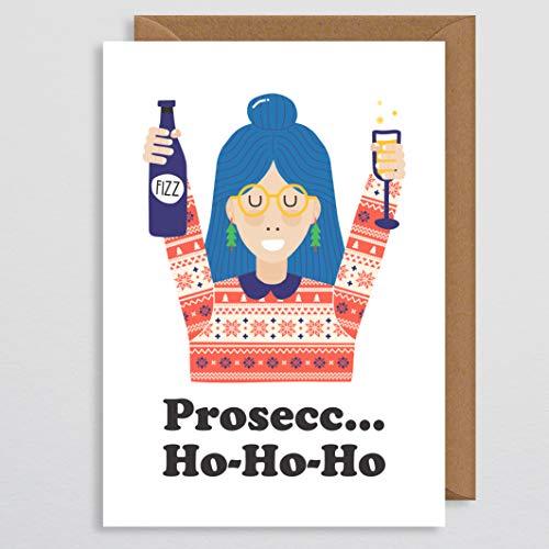 Prosecco Kerstkaart - Meisjeskaart - Grappige kerstkaart - Prosecco-geschenk - Grappige Drinkkaart - Kerstkaarten - Kawaii - voor meisjes - Kaart voor meisjes - Vrouwen - voor haar - Beste Vriend - Pun