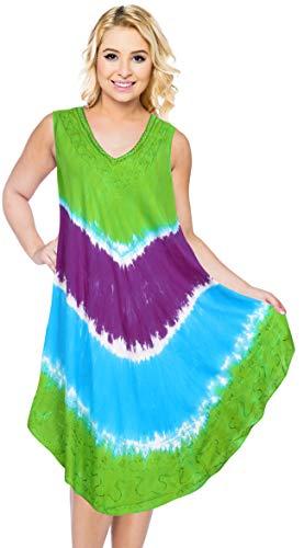 LA LEELA bestickte tie dye kurzen Strandkleid Vintage lässig midi Abend Lounge Sleeveless Frauen täglich tragen Tunika eine Größe großen Kreuzfahrtabnutzung kleiden Grün_Y862 DE Größe: 42-44