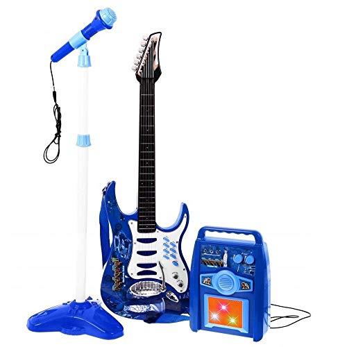 BAKAJI Chitarra Elettrica con Microfono Karaoke e Cassa Amplificatore AUX MP3 Giocattolo Bambini con Luci Effetti Sonori...