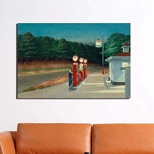 KWzEQ Tankstelle Leinwand Wandkunst Poster drucken Moderne Wandbild Wohnzimmer Dekoration,Rahmenlose Malerei,60x90cm