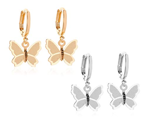 JGFinds Butterfly Hoop Drop Earrings, 2 Sets, Copper in Gold and Silver Tone, 1/2 Inch