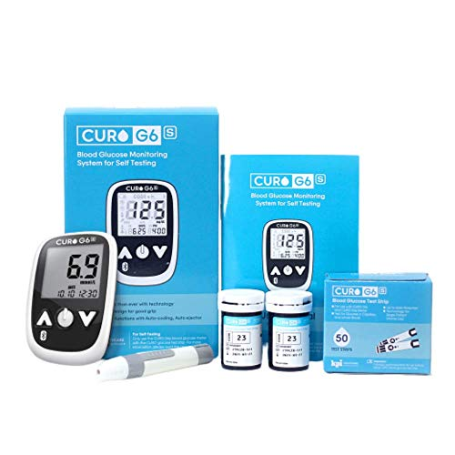 CURO G6s Glucose Home Test KIT- Blood Sugar Monitor Device and Set of 100 Strips