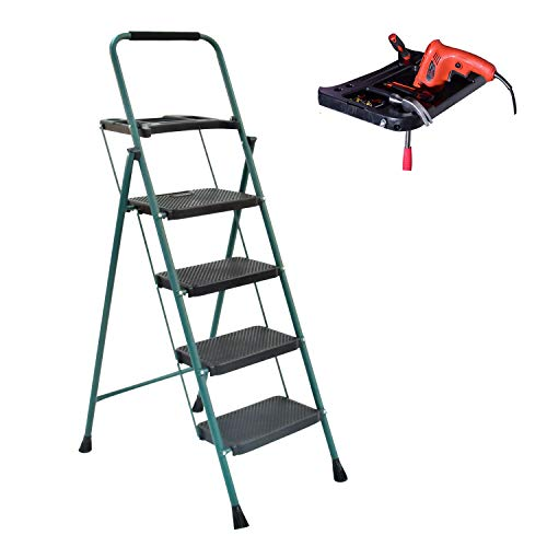 4 Step Ladder,Folding Portable Step Stool with Anti-Slip Foldable Wide Pedal and Tool Platform,Convenient Handgrip ,Lightweight Sturdy Steel Ladder for 330 lbs Capacity , Tall Ladder