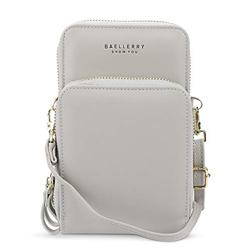FORRICA Bolso bandolera para mujer, pequeño teléfono, mini cremallera, bolso de hombro para mujer, de piel sintética, con ranuras para tarjetas, Gray (Gris) - F-CM006