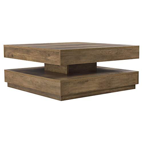 [en.casa] Tavolino da caffè con Piano Girevole 76 x 76 x 38 cm Tavolino da Salotto con 1 Ripiano Tavolino Basso - Effetto Legno