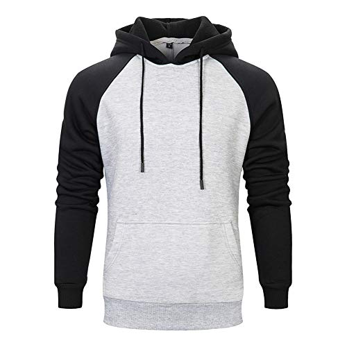 TOLOER Mens Hoodies Pullover - Contrast Color Casual Hoodie for Men - Sports Outwear Sweatshirts Grey Black Grey Medium
