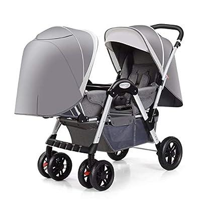 BrightFootBook Carro gemelar, Silla de Paseo gemelar Capacidad de Peso 15kg Encaja a través de la mayoría de Las Puertas - Capota Extensible con UPF 50+ para Gemelos Y Hermanos,Grey
