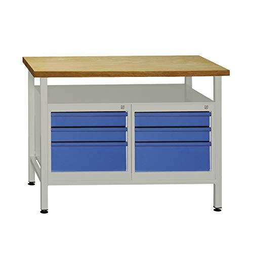 ADB Werkbank Werktisch 120x60x84 cm mit 2x 3 Schubladen RAL 7035/5012