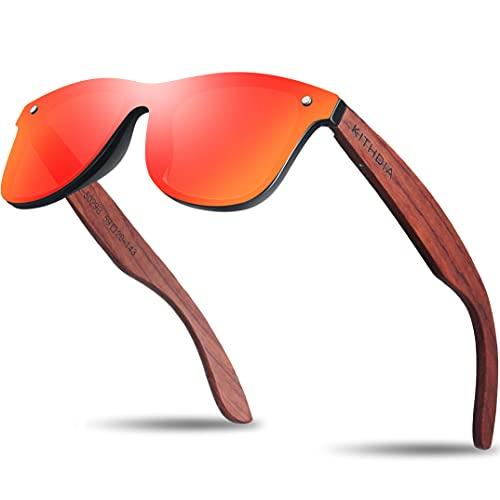 KITHDIA Sonnenbrille mit Holzbügeln aus Walnuss für Damen & Herren/Polarisierende Brillengläser mit UV-Schutz/Verspiegelt Linse - Natürlich Holz Sonnenbrille