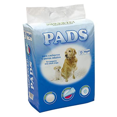 Arquivet Pads - Empapadores higiénicos educativos para Perros - Adultos y Cachorros - Pads para Perros súper absorbentes - Empapadores Desechables - 15 uds. - 60 x 90 cm