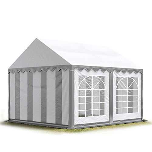 TOOLPORT Party-Zelt Festzelt 4x4 m Garten-Pavillon -Zelt 500g/m² PVC Plane in grau-weiß Wasserdicht