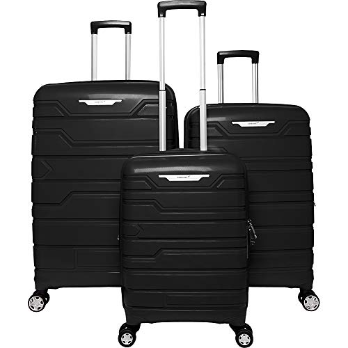 Gabbiano Spectra Collection 3 Piece Hardside Spinner Luggage Set (Black)