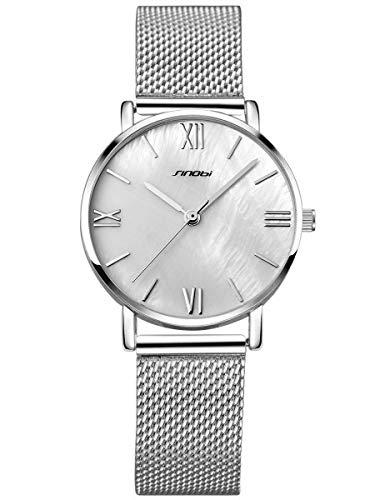 Alienwork Armbanduhr Damen Silber Metall Mesh Armband Edelstahl Weiss Perlmutt-Zifferblatt Ultra-flach