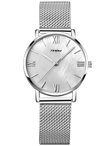 Alienwork Damen-Armbanduhr Quarz Silber mit Metall Mesh Armband Edelstahl Weiss Perlmutt-Zifferblatt Ultra-flach Slim-Uhr