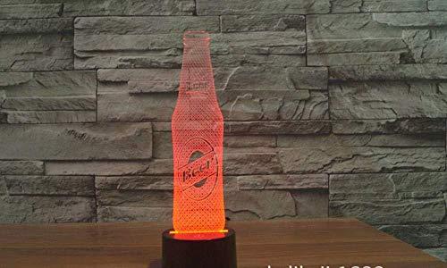 3D Illusie lamp Nachtlampje Bier Fles Decoratie Licht Geschikt voor Kamerdecoratie Vrije tijd en Entertainment locaties Crack Gear Remote USB 7 Kleuren (Afstandsbediening)