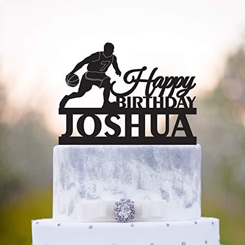 Adorno para tarta de cumpleaños personalizado, diseño de baloncesto con texto 'Happy Birthday'