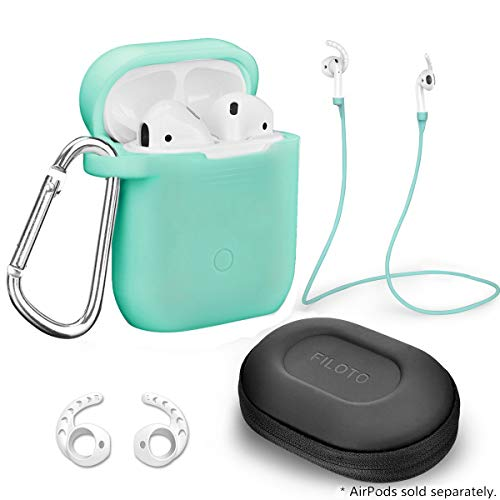 Case for Airpods Accessories Set, Filoto Airpod Silicone Case Cover with Keychain/Strap/Earhooks/Accessories Storage Travel Box for Apple Airpods 2&1, Best Gift for Your Air Pod (Mint Green)