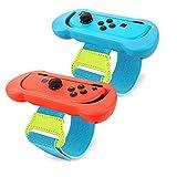 Muñequera de baile para Nintendo Switch Joy-Con Controller Game Just Dance 2021 2020 2019, Correa elástica ajustable para Joy-Cons, dos tamaños para adultos y niños, azul y rojo