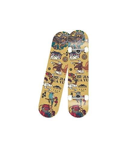 HUADUO Erwachsene Anfänger Sport Outdoor Skateboard komplettes Skateboard-Drache und Phönix_80 * 20 * 10 cm