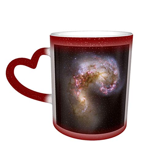 Antennae Galaxies Xl Starry Sky Taza de cerámica de café mágico que cambia de color, un regalo novedoso e interesante, un regalo para el día de San Valentín, 11 oz