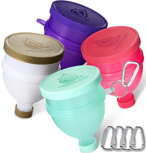 Hydra Cup [4 Pack] - Protein Powder Funnel with Three Compartment Pill Container and Supplements, Pair with Shaker Bottle on The go for pre and Post Workout. (Purple, Pink, White/Gold, Green)