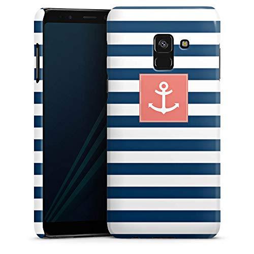 DeinDesign Premium Hülle kompatibel mit Samsung Galaxy A8 Duos 2018 Smartphone Handyhülle Hülle glänzend maritim Anker Streifen