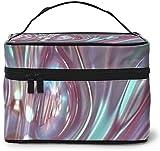 Láser holográfico arco iris Color (5) Diseño grande bolsa de maquillaje mujeres portátil cosmético caso organizador viaje con cremallera malla cepillo bolsillo aseo con asa chica