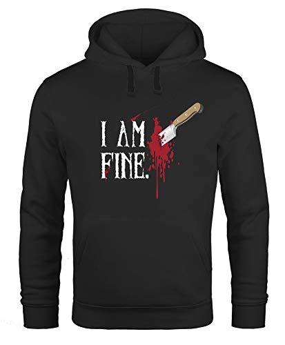 MoonWorks Hoodie Herren Halloween Wunde Messer I Am Fine Horror Fun-Shirt Stichwunde Kapuzen-Pullover schwarz 4XL