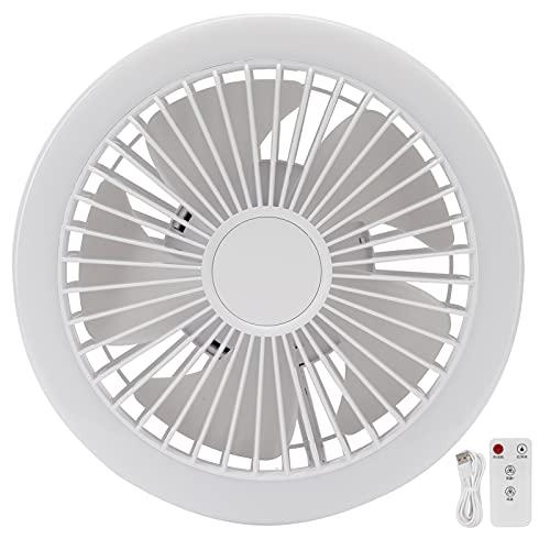 FOLOSAFENAR Ventilador eléctrico Inteligente pequeño con Control Remoto, batería silenciosa de Gran Capacidad con luz de Relleno y Mini Ventilador de Velocidad de 3 velocidades(Blanco)