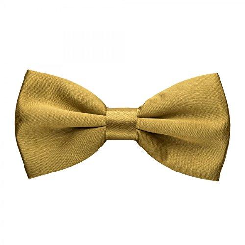 Rusty Bob - Fliege in Uni - Schleife gebunden und verstellbar (12cm x 6,5cm) - für die Hochzeit, die Konfirmation, zum Anzug oder Smoking - Gold