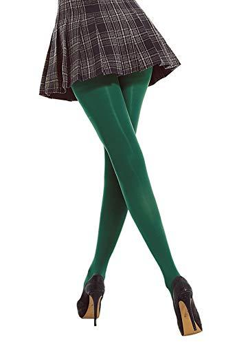 DancMolly Women's Semi Opaque Tights Basic Control-Top Footed Hosiery (Dark green, X-Large)