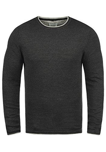 Blend Odin Herren Strickpullover Feinstrick Pullover Mit Rundhals Aus 100% Baumwolle, Größe:XL, Farbe:Charcoal (70818)