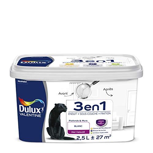 DULUX VALENTINE 5323752 3 en 1 Peinture intérieure, Blanc, 2.5L